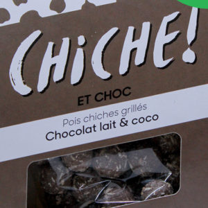 Pois chiche pour l'apéritif à croquer les légumineuses gout chocolat au lait coco bio